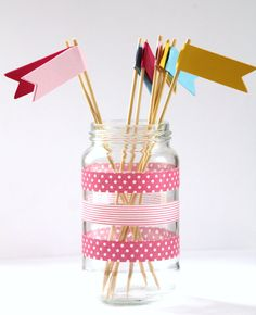 I love the washi tape decorating this jar!