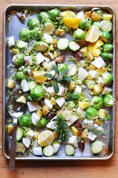 LEMONY ROASTED BRUSSELS SPROUTS, TURNIPS, AND POTATOES WITH HORSERADISH CREME FRAICHE