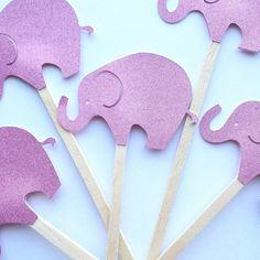 Glittery Pink Elephant Cake Picks by PicktheCake on Etsy