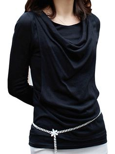 5963819d567 Graceful Pure Colro Long Sleeve Plus Size Fashionable Heaps Collar Lady s T- Shirt Black on · Ladies T- shirtsWomen s ...