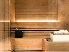 Bathroom    Sauna . Indirect light . Glass wall