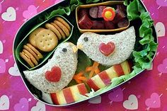 School lunch valentine bento - lovebirds!