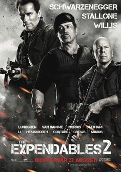 The Expendables 2 TV Spot, Poster. Simon West's The Expendables 2 TV spot movie poster stars Bruce Willis, Jean-Claude Van Damme, Jet Li, The Expendables Cast, Expendables Tattoo, Sylvester Stallone, Action Movie Poster, Action Movies, Movie Posters, Bruce Willis, Van Damme, Movies Showing