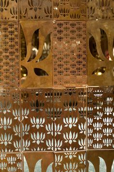 *An Indian By Design Exclusive* Presenting the first pictures of the new Rohit Bal Store, at Emporio in New Delhi. The store evokes a sense of grungy grandeur, and the gold and mirror and jaali wor… Indian Architecture, Interior Architecture, Interior Design, Interior Doors, Pooja Room Door Design, Design Room, Design Design, Design Ideas, Jaali Design