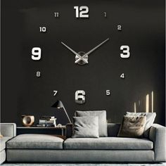 3d Acrylic Mirror Large Home Quartz Wall Clock