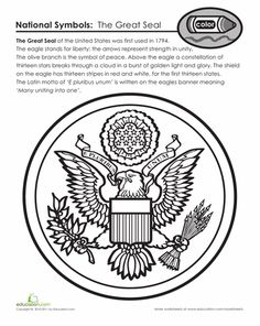 great seal of the united states patriotic symbolssocial studies worksheetsamerican symbolscoloring pagesnational