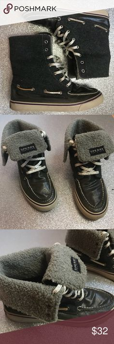 Hi Top Sider Sperry's Used condition  Good  No stains/tears  Size 7.5  Gray white silver  Faux fur  *next day shipping  *bundles get discounts   Check out my other sperry listings*  Tags: sperry sperrys hi Top sperry tennis shoes  Skateboarding sperri converse Sperry Top-Sider Shoes Sneakers