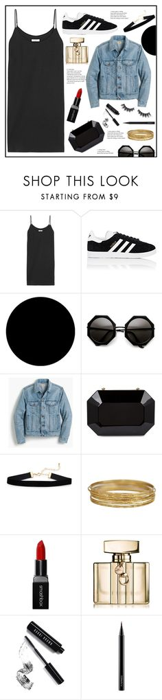 """""""Everyday"""" by belleshines ❤ liked on Polyvore featuring Equipment, adidas, Wall Pops!, J.Crew, Smashbox, Gucci, Bobbi Brown Cosmetics, MAC Cosmetics and Violet Voss"""