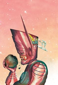 Galactus and Silver Surfer by Mike Del Mundo