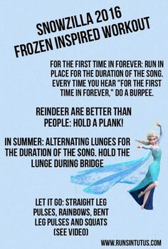 """Someone really made Elsa angry this week! If you live anywhere around the Northeast, you are currently stuck at home braving Winter Storm Jonas AKA """"SNOWZILLA."""" I'm in Washington,… Disney Movie Workouts, Tv Show Workouts, Disney Workout, One Song Workouts, Workout Songs, Fun Workouts, Disney Family Movies, Family Movie Night, Disney Challenge"""