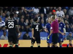 Marcin Wasilewski red card after an elbow on Diego Costa Football Latest, Costa, Baseball Cards, Music, Youtube, Sports, Red, Hs Sports, Sport