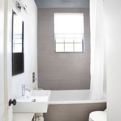 Magnificent Small Bathroom Tile Ideas of Modern Bathroom Design: Remarkable Small Bathroom Tile Ideas Of Contemporary Bathroom With White Pa. Small Full Bathroom, Small Bathroom Layout, Small Bathtub, Small Bathrooms, Small Vanity, Bathroom Colors, White Vanity, Bathroom Renos, Bathroom Flooring