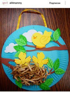 Весенняя поделка птички в гнезде