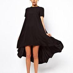 2015 Summer New Designer Fashion Chiffon Dress Hot Sale Women Clothing Cute Black Short Sleeve Split High Low Dress Dress Vestidos, Mini Vestidos, Mode Boho, Look Plus, Looks Chic, Inspiration Mode, Mode Style, Asymmetrical Dress, Dress Me Up