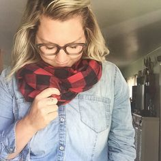 handmade flannel infinity scarf black  red by mackmadegoods