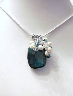 Elegant Emerald Green Swarovski Crystal Pendant with a Cascade Cluster of Fresh Water Pearls and Swarovski Crystals, Color of the Year 2013.