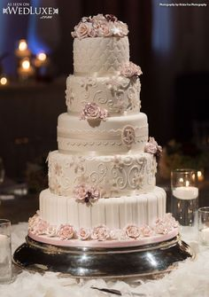 WedLuxe: classic white #wedding cake beautifully decorated with pink flowers