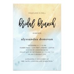 Glam Pastel Blue and Gold Marble   Bridal Brunch Card - invitations custom unique diy personalize occasions