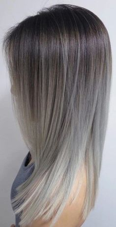 Silver Ombre Hair, Best Ombre Hair, Brown Ombre Hair, Ash Blonde Hair, Ombre Hair Color, Hair Colour, Brown To Grey Ombre, Caramel Ombre Hair, Shampoo Bomba