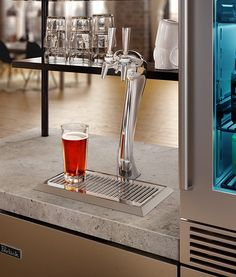 The Adara Beer Tower by #Perlick is the industry's first decorative tower for residential beer dispensers. Available 06/01/15 #beer #interiordesign #homebar