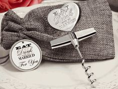 Eat, Drink, and Be Married Silver Wine Opener Favors