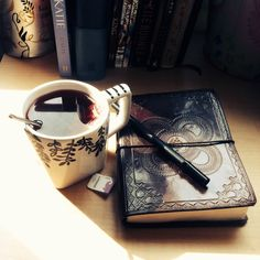 Happiness is a cup of tea or coffee AND a story or a poem to write down.