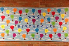 May Birthday Bulletin Board - Hot Air Balloons