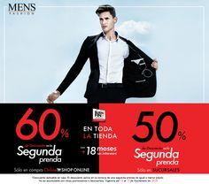 Arrancamos con el #BuenFin. Adquiere una prenda y llévate la segunda con descuento del 50% en sucursal o 60% en tienda online. ¡Tú decides! Visítanos o ingresa: www.mensfashion.com.mx