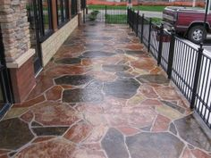 Tired of the same old drab grey concrete? Stamped concrete is a way of enhancing the appearance of regular concrete by dying and molding it. Read on to learn http://www.alguireconstruction.com/blog/basics-of-stamped-concrete/