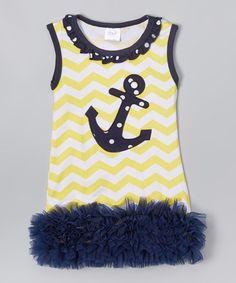 Yellow & Navy Chevron Anchor Dress - Infant & Toddler #zulily #zulilyfinds