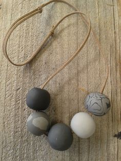 Polymer Clay Black/Grey Bead Necklace by Emberaustralia on Etsy Polymer Clay Jewelry, Black And Grey, Beaded Necklace, Jewelry Making, Australia, Jewellery, Beads, Handmade, Stuff To Buy