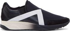 Neil Barrett: Black Neoprene & Leather Slip-On Sneakers | SSENSE