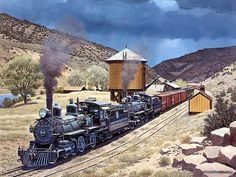 Art Train Journeys : Steam Train Painting by Howard Fogg