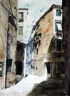 Paul Dmoch - Au soleil de Venise II, Italie - Aquarelle 76 x 56 -