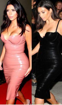 """Kim K"" Liquid Leather Bustier Dress"