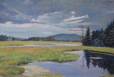 Western Mountain from the Marshes. Oil painting by Peter Barnett.