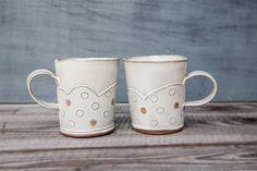 gold ceramic polka dot mug   White Ceramic Tea Cup by FreeFolding