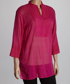 Another great find on #zulily! Fuchsia Textured Notch Neck Tunic - Plus #zulilyfinds