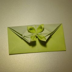 March 14th 2015 Origami flower envelope I made today. #origami #flower #envelope #green #paper #folding #diy #craft #73