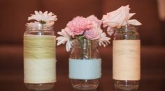 yarn wrapped vases and even jelly jars.