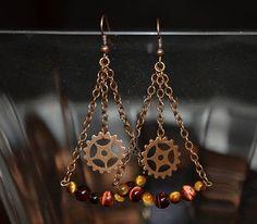Steampunk Dangled Drop Earrings with Gears