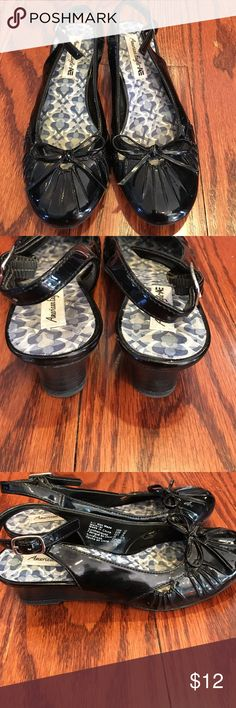 👍 3/$20 Girls black sling back wedges My little diva loved prancing around in these!  They are shiny black sling back adjustable wedges. So cute! Shoes Dress Shoes