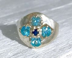 Vintage Sterling Silver Blue Topaz and Blue Sapphire CNA Flower Ring Size 10.25 #CNA