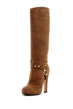 Studded Suede High Heel Boot