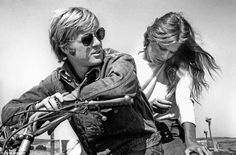 Robert Redford and Lauren Hutton on the set of 1970′s Little Fauss and Big Halsy (a film that Redford would rather forget…) – Image by Stephen Schapiro