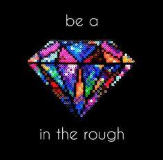 Multicolored diamond perler bead pattern