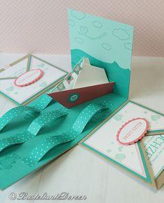 Ich durfte wieder eine Explosionsbox zur Hochzeit werkeln. Dieses mal ohne die so beliebte Hochzeitstorte. Die Hochzeit findet auf einem Schiff statt. Das sollte auch Thema in der Box werden. Ich h…