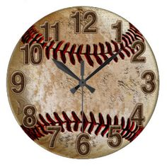 Cool Stone Look Vintage Baseball Clock for Him. Vintage Baseball Decor for Men and Boys Room.