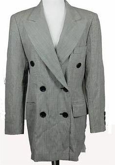 ESCADA Margaretha Ley Women Blazer Black White Tight Check Wool Size 38 | eBay