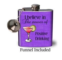 Hip Flask with free funnel  The power of positive by FlaskMart